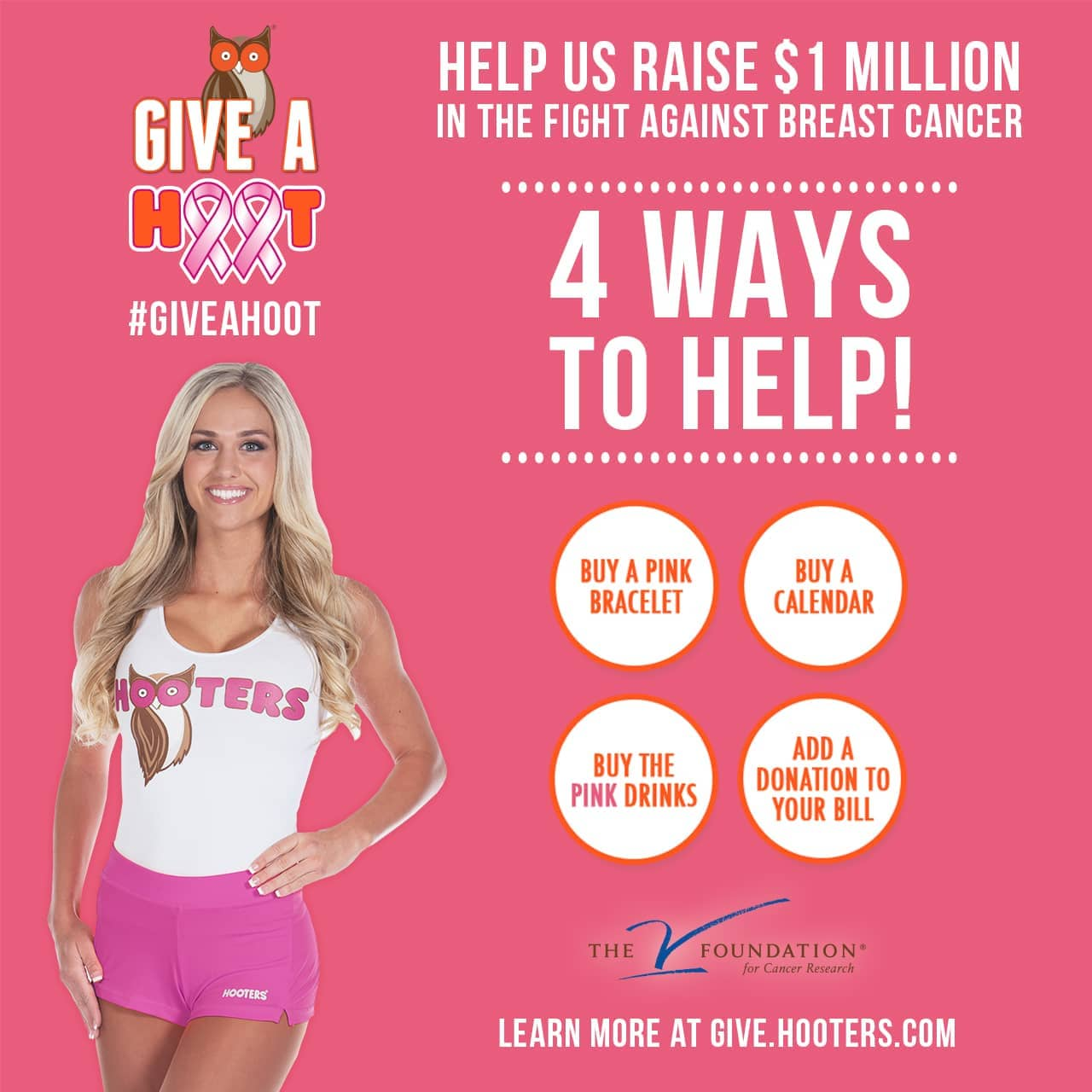 f306e409ad8 Hooters Asks America to  Give A Hoot  in the Fight Against Breast Cancer