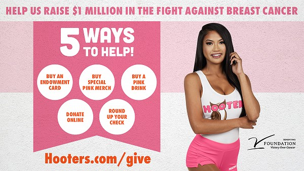 Hooters Asks to 'Give A Hoot' in Fight Against Breast Cancer