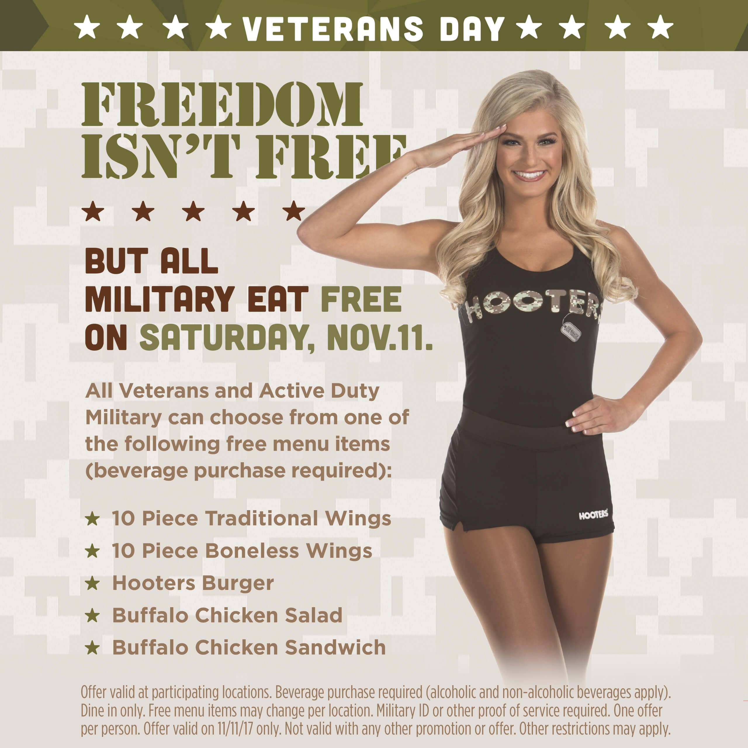 Hooters Invites Military to Eat Free This Veterans Day | Hooters