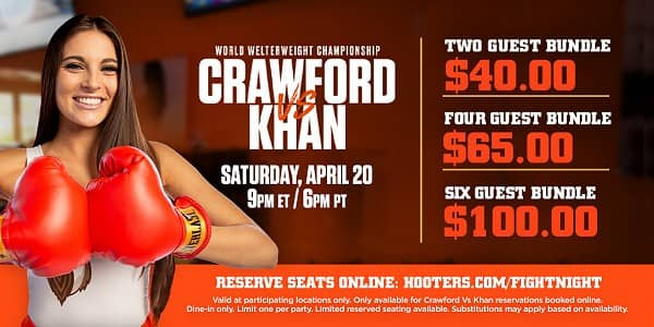 Hooters to Show Crawford vs Khan
