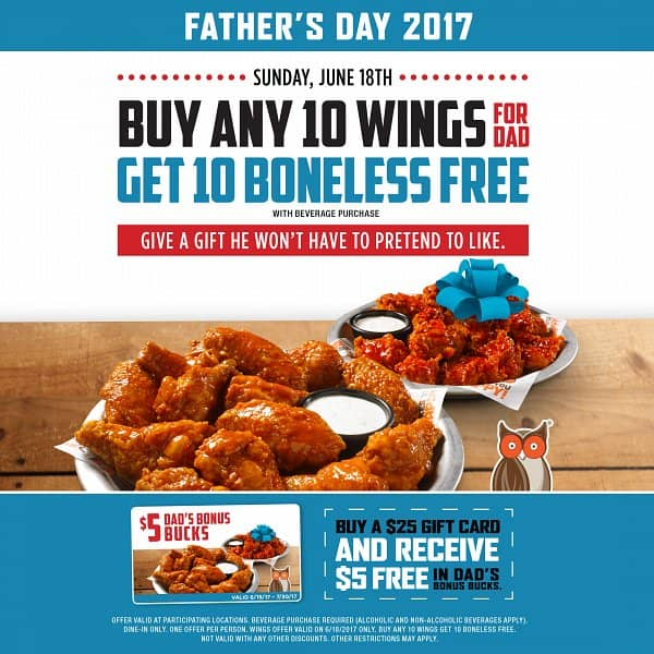 Free Wings for Dads at Hooters this Father's Day