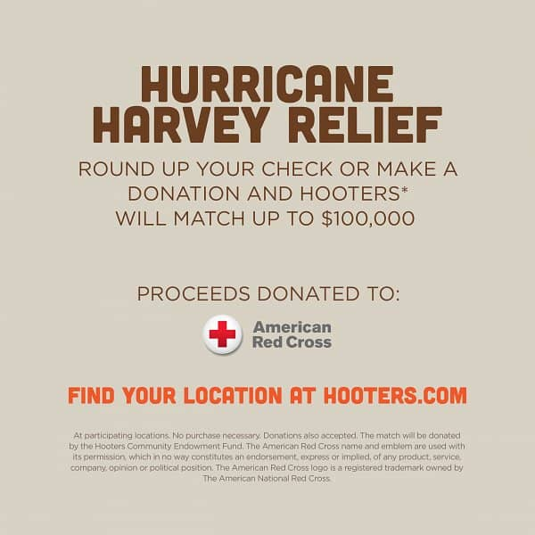 Hooters Kicks Off National Fundraising Campaign to Support  American Red Cross Harvey Relief Efforts