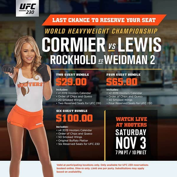 Hooters to Show UFC 230