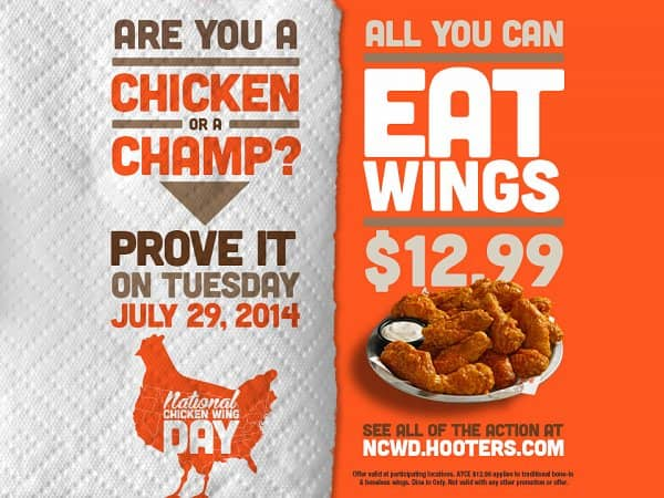 Hooters Offers All-You-Can-Eat Wing Deal for National Chicken Wing Day