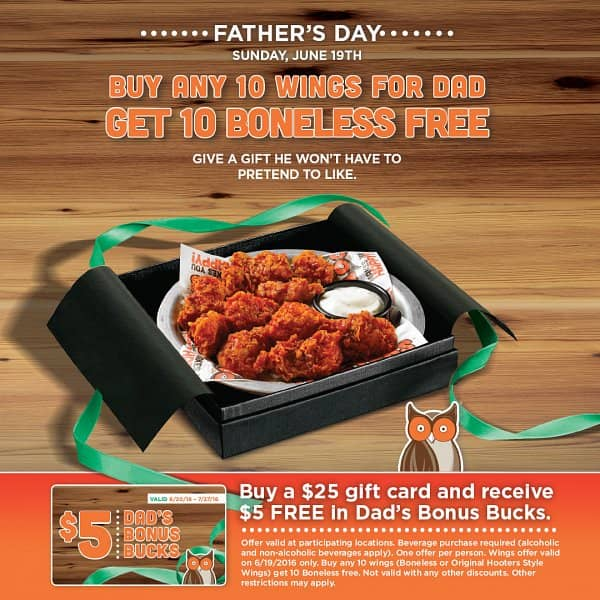 Hooters Celebrates Dads with Free Wings on Father's Day