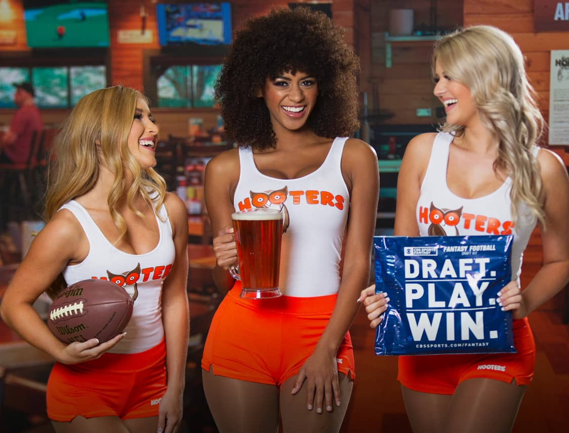 Hooters Girls with Beer and Football