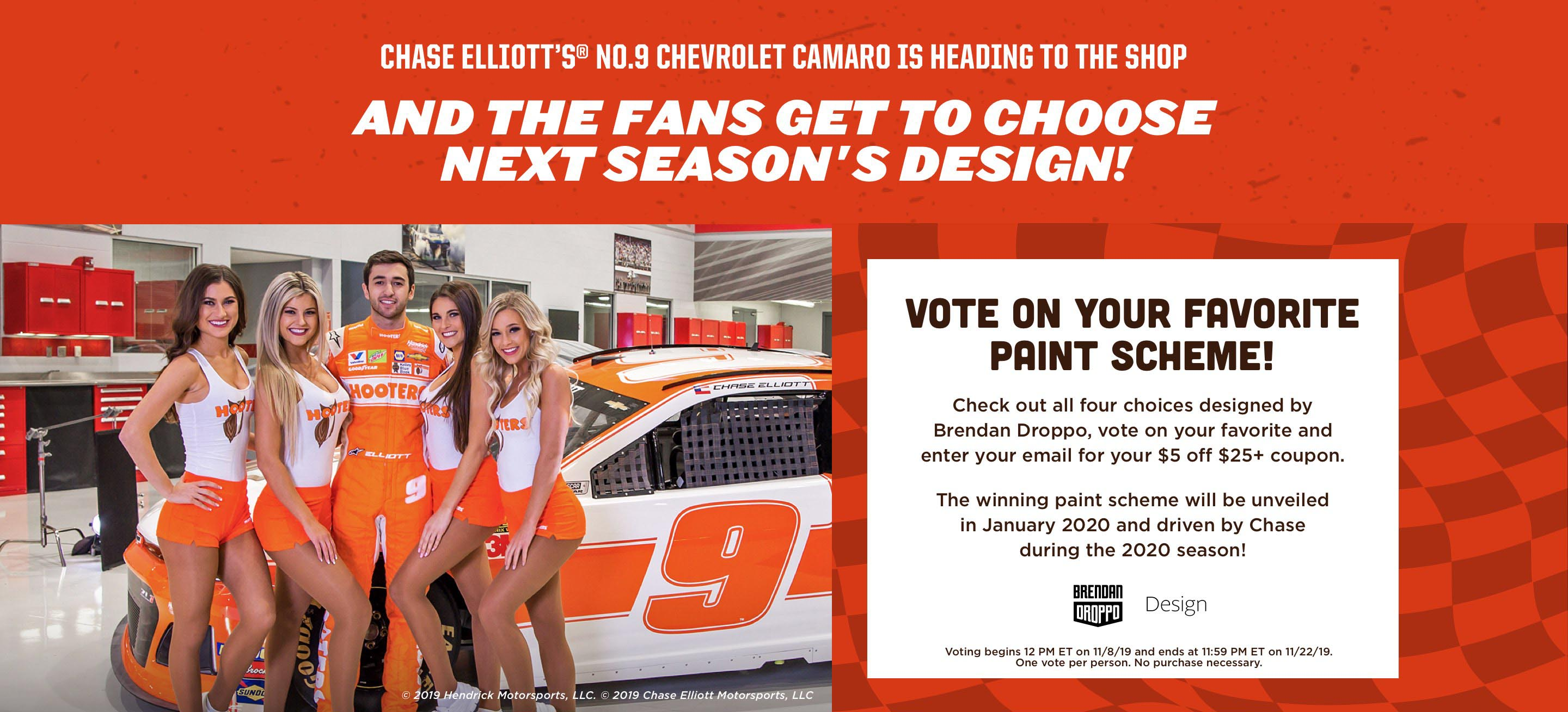 Vote on your favorite paint scheme! Check out all four choices designed by Brendan Droppo, vote on your favorite and enter your email for your $5 off $25+ coupon.  The winning paint scheme will be unveiled in January 2020 and driven by Chase during the 2020 season!